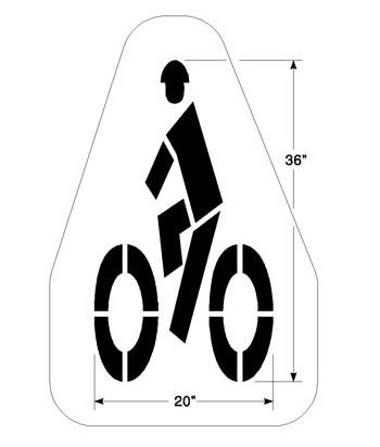 Bike Lane Symbol Stencil With Helmet 36quot
