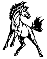 Broncos Colts Mustangs Full Image Mascot Stencil