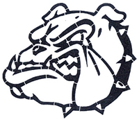 Bulldog Mascot Stencil fo fields and gymnasiums