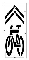 Shared roadway bicycle symbol stencil
