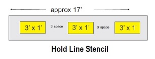 Hold Line Stencil with 3 bars