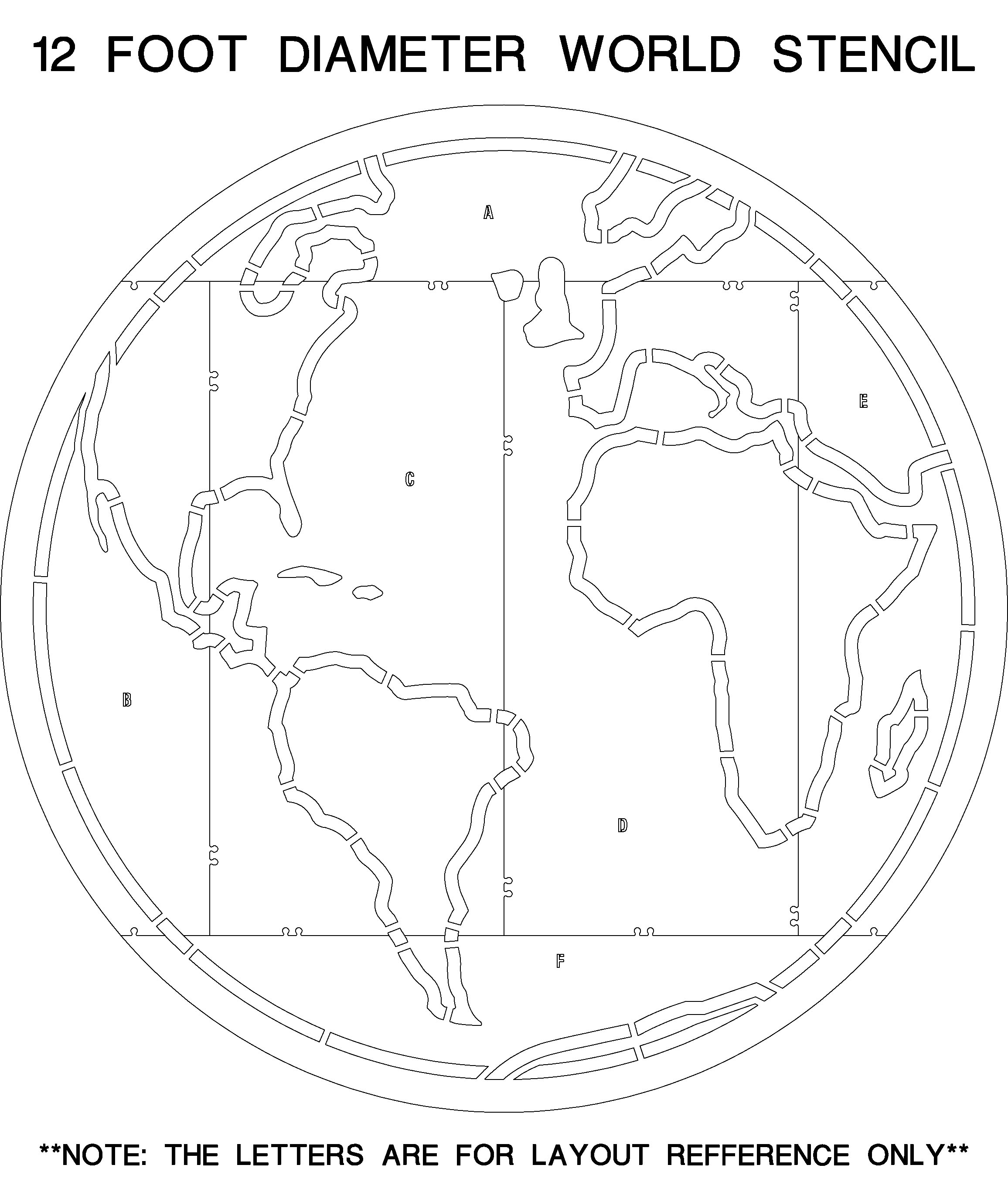 World Map Playground Stencil Kit 12 Ft Diameter